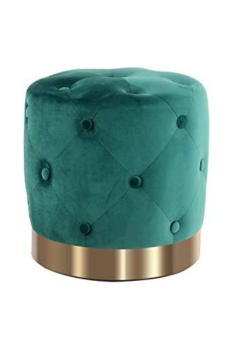 One Couture Pouf pouf rotondo trapuntato velluto dorato decorazione Ø 40 verde