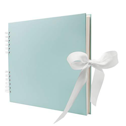 Never Ever Land Scrapbook Album. 12x10' Blue Scrapbook. Scrapbooking Supplies, Memory Book, Wedding Guest Book, Photo Album, Baby Shower Present, Valentines, Engagement, and Anniversary Message Book.