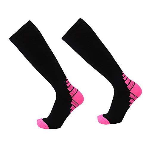 YaptheS Unisex Compression Socks Athletic Fit-Boost Ausdauer Circulation Erholung Strümpfe für Männer und Frauen Rosa S M Größe 1 Paar