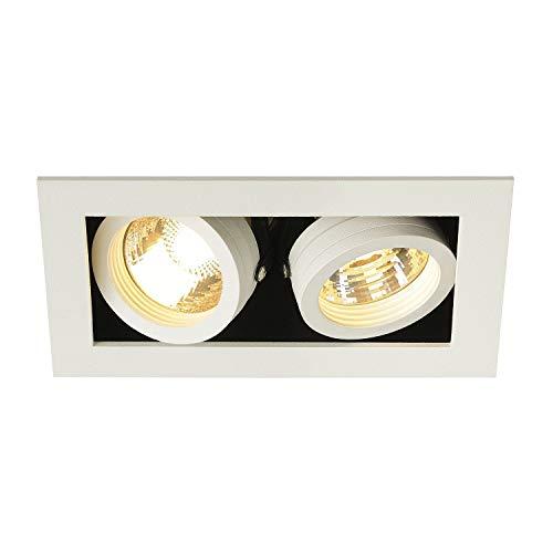 SLV Encastré KADUX 2 Lampes   Rectangulaire   Blanc Mat  Orientable Inclinable Multidirectionnel  100 Watts