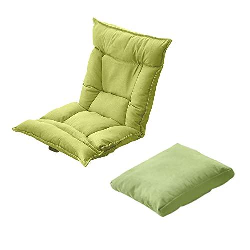 Plegable Lazy Chaise con Almohada, Lounge Reclinable, Silla Relajante Elegante, Lazy Sofa, Lounge Chair, Moderno Muebles para el Hogar Japonés, Silla De Suelo, Silla Japonesa PisoFruit Green