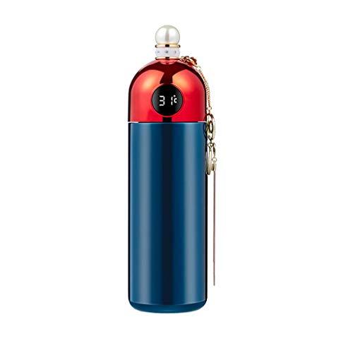 Luccase LCD Tasse Smart Thermosflasche Diamond Intelligente Flasche mit Temperaturanzeige LCD-Touchscreen und Temperatursensor Edelstahl Dichtflasche (Blau)