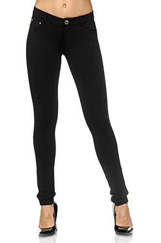 Elara Pantalón Elástico para Mujer Skinny Fit Jegging Chunkyrayan Negro A2488 Black 40 (L)