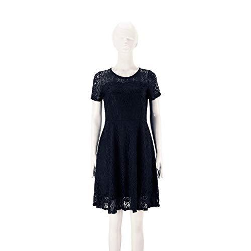 Vestidos De Fiesta Vestir Dress Mujer Niña Vestido De Mujer Sexy Elegante De Encaje Floral Vestido De Mujer De Moda Formal Sólido De Manga Corta con Cuello Redondo-Black_3XL