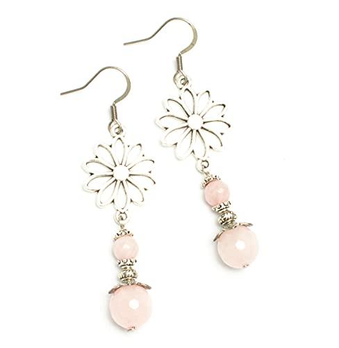 Kimaya - Pendientes artesanales de cuarzo rosa, ganchos de plata 925 ~ paz interior ~