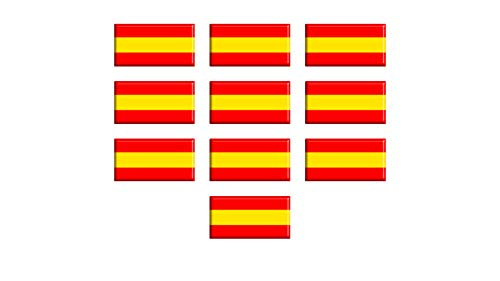 Dhabmin Pegatinas Bandera de España Adhesivos Bandera de España de Resina Pack 10 uds