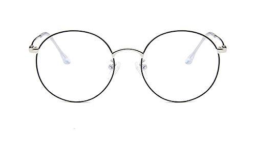 Metal vlakte spiegel, ronde montuur kader retro literaire, anti-blauw, anti-vermoeidheid, lezen, unisex, het verbeteren van slapen,Silver dot black
