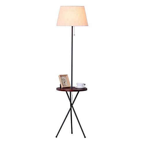 lámpara de piso Lámpara de pie moderna con útiles puertos USB y la mesa redonda Bandeja, LED lámpara de pie con la cortina de la tela y tirar de la cadena, lámpara de pie for el dormitorio, sala de es