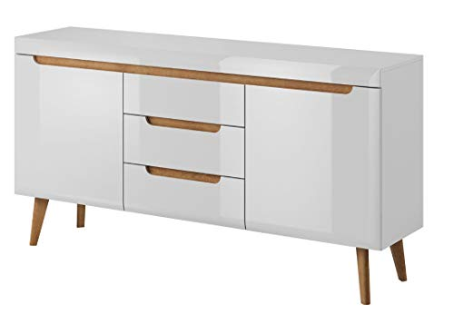 MHF NORDI 8 MODERN SIDEBOARD 160CM WIDE WITH LEGS 3 DRAWERS AND DOORS HIGH GLOSS LIVING ROOM