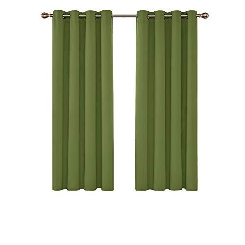Deconovo Cortinas Salon Opacas Aislantes Termicas con Ojales 2 Piezas 117 x 138 cm Verde