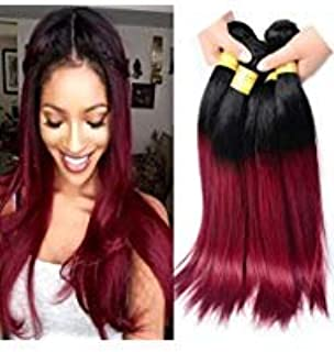 Black Rose Hair Brazilian ombre hair 4 bundles 10 10 12 12 Inches Straight ombre hair extensions two tone #1b/burgundy black to red Straight Human Hair Weave,100g/piece