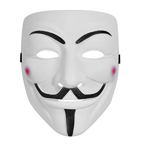 WLPARTY hackers mask white V for Vendetta Halloween face mask Costume Cosplay Party