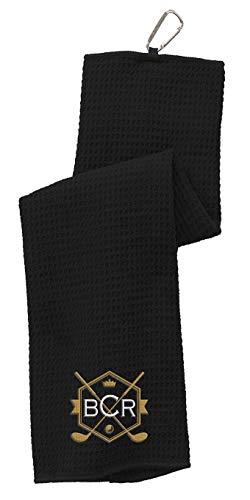 Toalla de golf personalizada – Elige tu diseño de monograma y añade iniciales bordadas – Toallas de golf triple pliegue para bolsas de golf con ojal y mosquetón clip de gancho.