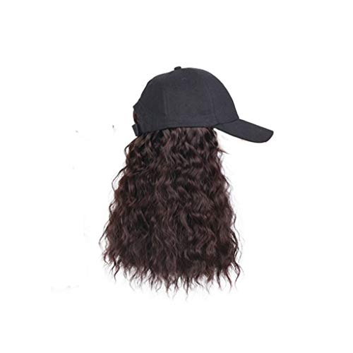 JJSPP Long Synthetic Baseball Cap Wig Wave Wigs Naturally Synthetic Hat Wig Adjustable for Girl Party (Color : Dark Brown)