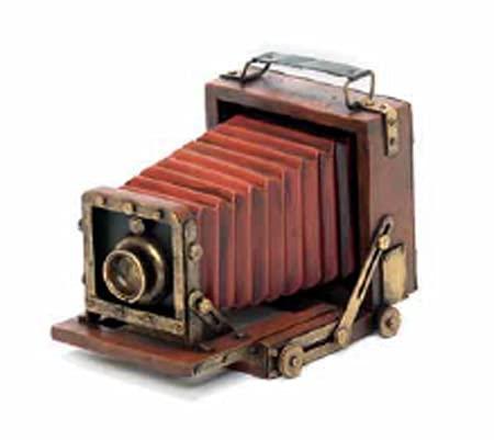 led luce italia Macchina Fotografica Antica con Portafoto, Metallo e Legno, Antiche Decorazioni, Prodotto Artigiale Fatto a Mano, Dimensioni 23X17,5X18cm
