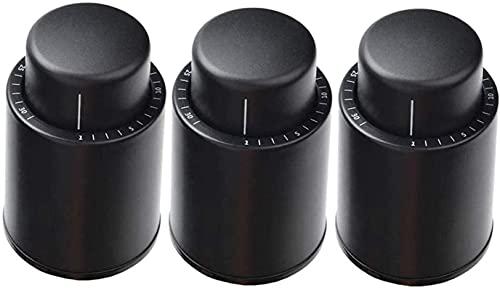 Tapón para botellas de vino al vacío, 3 unidades, reutilizable, tapón con escala de tiempo para mantener el vino fresco