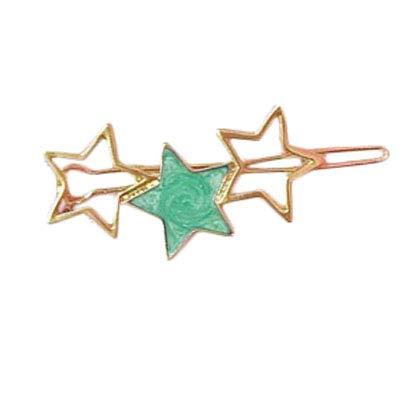 Emorias 1pc Accessoires de Cheveux Minimaliste Clip Latéral de Petit Fraîcheur Clip en Métal Forme de Étoile Huile Dégoulinant(Vert,6CM)