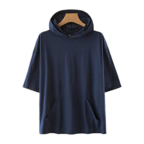 Mr.BaoLong&Miss.GO Men Solid Color Couple One Hooded Short-Sleeved T-Shirt Short-Sleeved Sweater Men and Women Same Style Tops Thin T-Shirt Navy