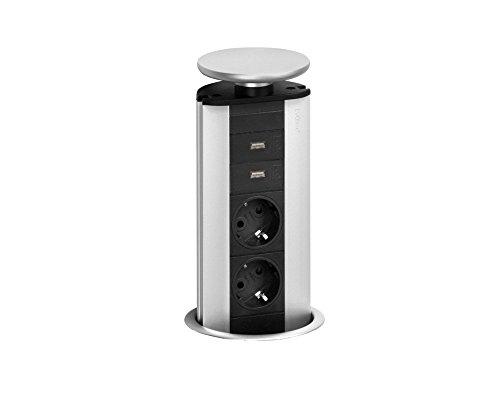 EVOLINE Port mit USB Charger versenkbare Energiebox silber mit 2 Steckdosen und Ladefunktion über zwei USB Buchsen