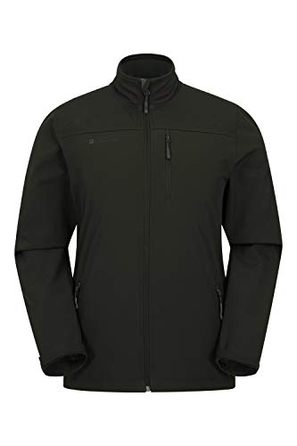 Mountain Warehouse Grasmere Rivestimento Mens Softshell - Raincoat Resistente all'Acqua, Cappotto di Breathable Mens, Rivestimento Leggero di Estate, Tessuto Bonded Kaki L