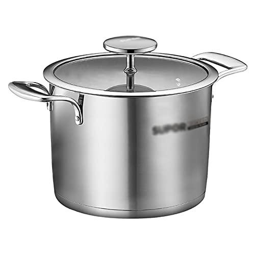 Utensilios de cocina al vapor 304 Sopa de acero inoxidable Pot-Hogar Pot de sopa, olla de ebullición/olla de estofado, 20/22 cm, para cocción de inducción Estufa de gas Charola para hornear