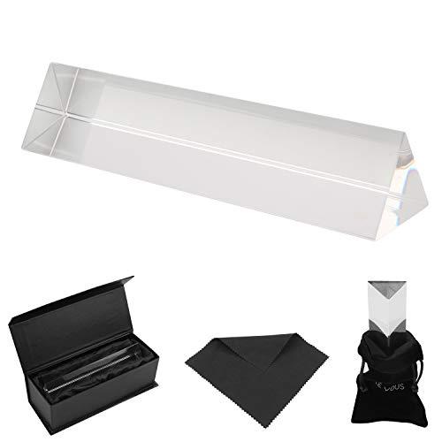 BELLE VOUS K9 Kristall Prisma Dreieck - 15cm Fotografie Glas Prisma Spektrometer mit Samt Tasche, Mikrofasertuch & Geschenkbox – Kristallglas Dreieckig für Sonnenlicht Spektrum und Regenbogen Effekt