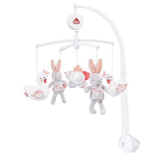 Fehn 062137 Musical Mobile Swan Lake Music Box Mobile with Swan, Rabbit and Flower to Laugh and Marvel Attach to Bed for Babies from 0 to 5 Months Height 65 cm Diameter 40 cm