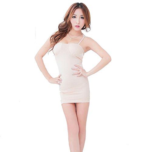 Ailin home Europa y Estados Unidos Leak Back Women's Sexy Underwear Opaque Sexy Strap Falda con Cubierta de la Copa (Color : Complexion, Tamaño : One Size)