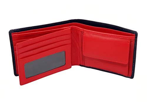 Starhide Men's RFID Blocking Genuine Nappa Leather Billfold Wallet Purse - Photo Id Holder - Coin Pocket Pouch 1216 (Black/Red)