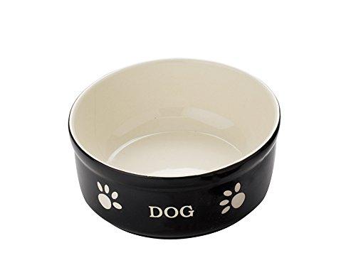 "Nobby Hunde Keramiknapf \""DOG\"" schwarz / beige 15,5 X 15,5 X 6,5 cm"