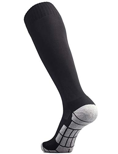 CWVLC Lillte Boy's Soccer Socks Kids Football Sport Team Athletic Knee High Long Tube Cotton Compression Socks Black X-Small (12C-13C Kids/ 1Y-3Y Youth)