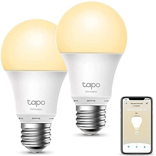 TP-Link Ampoule Connectée Wifi, Ampoule LED E27 Blanc Chaud 8.7W 806Lm, Smart Ampoule compatible avec Alexa et Google Home, Contrôle à distance par smartphone, 2PCS [Classe énergétique A+](Tapo L510E)