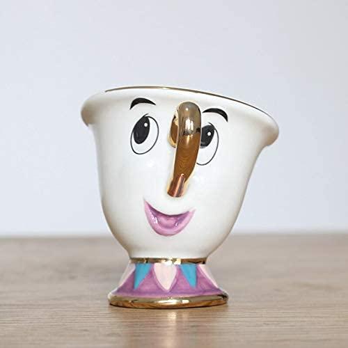 Taza de café 2020 La Bella y la Bestia, el Hijo de la Sra. Potts: Juego de té con Chip, Taza de café con Dibujos Animados para Regalo de Amante de los Amigos, Hermoso