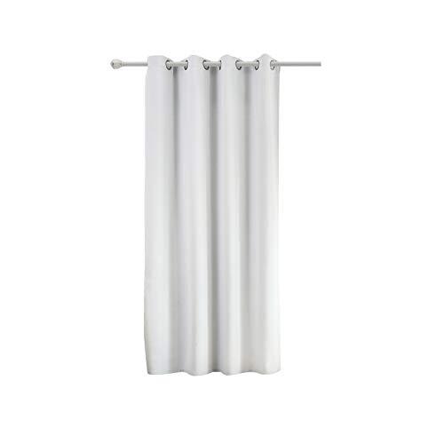 WOLTU #488, Vorhang Gardinen Blickdicht mit Ösen, Leichter & weicher Verdunklungsvorhang für Wohnzimmer Schlafzimmer Haustür, 135x175 cm, Weiß (Hinter: Grau), (1 Stück)