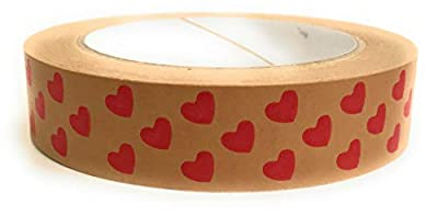 ECO BOY Kraft Paper Tape Self-Adhesive Red Hearts Love Anniversary Any Occasion Design 24mm x 50M Fully Recyclable Eco-friendly Ideal for Packaging Presents Boxes Made in the UK