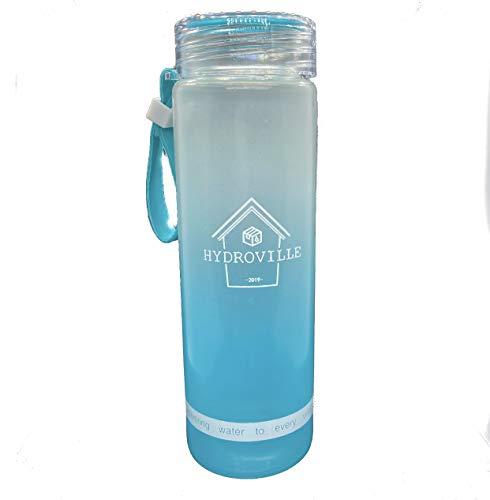 Glazen waterfles (blauw)
