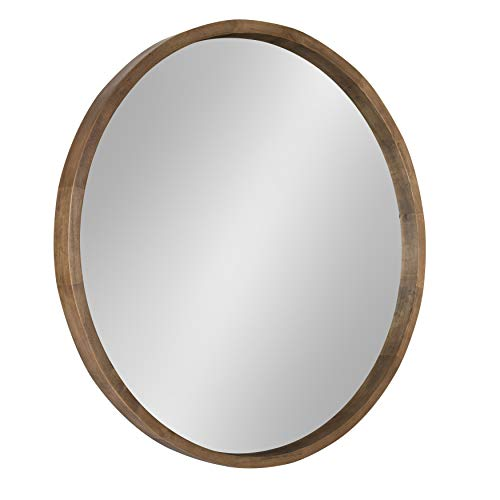 Kate and Laurel Hutton Round Decorative Wood Frame Wall Mirror, 30 Inch -