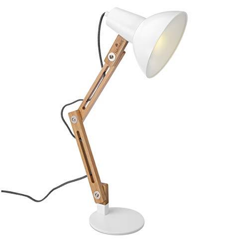Navaris Lámpara de escritorio de madera vintage - Flexo retro para sobremesa - Lámpara de mesa con diseño nórdico con portalámparas E27 - Blanco