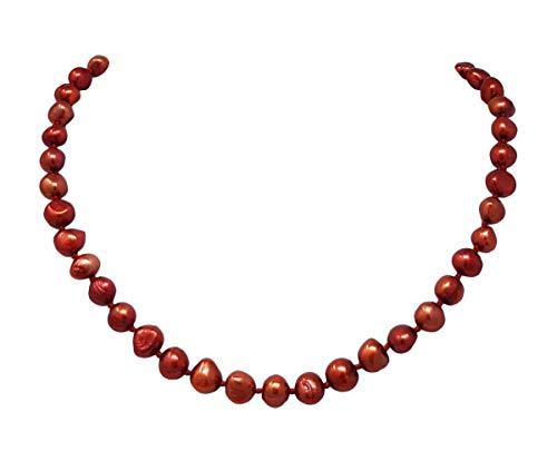 TreasureBay Elegante collana di perle d'acqua dolce barocche da donna, collana di perle e Ottone, colore: Rosso scuro, cod. TBPN99