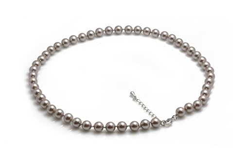 Schmuckwilli Südsee Tahiti Damen Muschelkernperlen Perlenkette aus echter Muschel grau violette 45cm 8mm mk8mm096-45