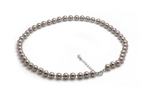 Schmuckwilli Damen Muschelkernperlen Perlenkette aus echter Muschel grau violette 45cm 8mm mk8mm096-45