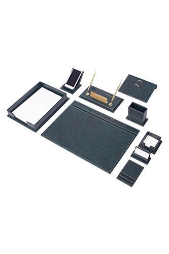 Nurdanil Vegan - Juego de escritorio de piel de lujo, 13 piezas, color verde, base de escritorio, color blanco