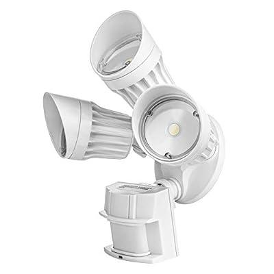 Hyperikon LED Security Light with Motion Sensor, 3 Head Dusk to Dawn, 30W, UL Listed, White