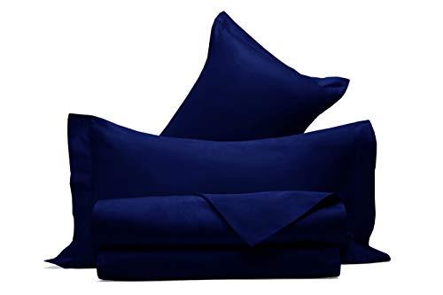 Juego de sábanas de raso de puro algodón, fabricado en Italia, para cama de matrimonio, color azul noche