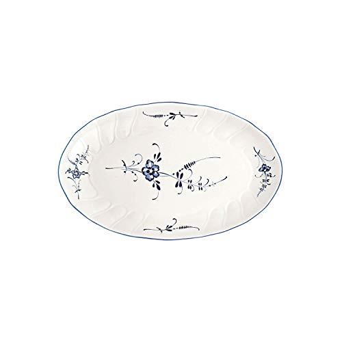 Villeroy & Boch Vieux Luxembourg Plat à accompagnements, Porcelaine Premium, Blanc/Bleu