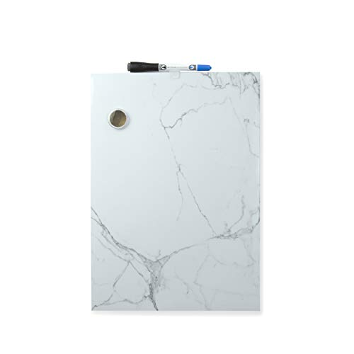 U Brands Magnetic Dry Erase Board 11 x 155 Inches Frameless Marble Print Magnet and Marker Included 2411U00-04 White