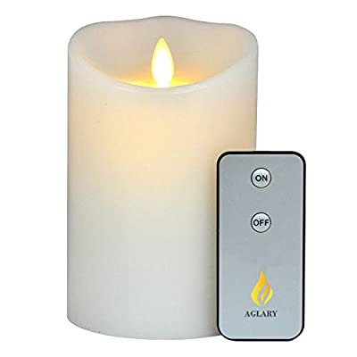 """AGLARY Flameless Flickering Candle Battery Operated with Remote Control Cycling Timer, Real Wax for Christmas, Wedding, Birthday, Parties and Decoration, White 7"""" ..."""