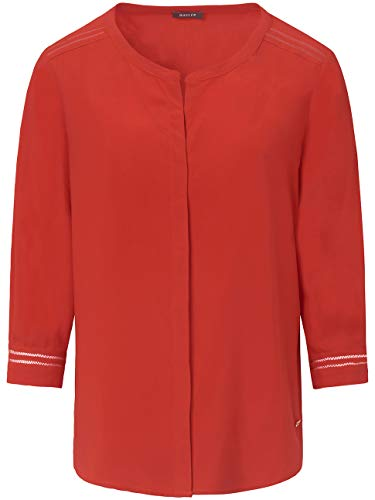 BASLER Damen Bluse im unifarbigen Design mit Lochmuster