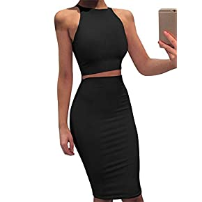 GOBLES Women Sleeveless Bodycon 2 Piece Midi Skirt Outfits Halter Cocktail Dress