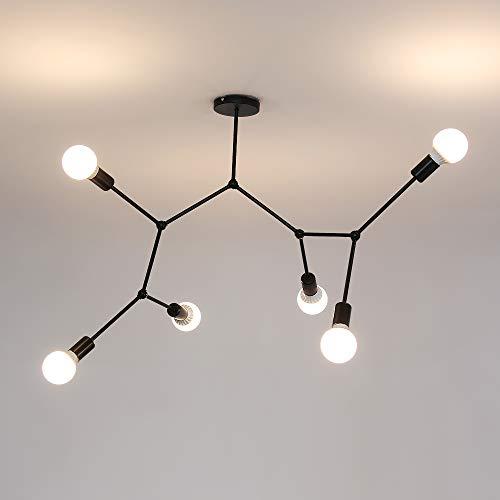 AUA Lampadario a Sospensione da soffitto, Plafoniera a 6 Bracci E27, per Soggiorno Camera da Letto, lampadine Non Incluse